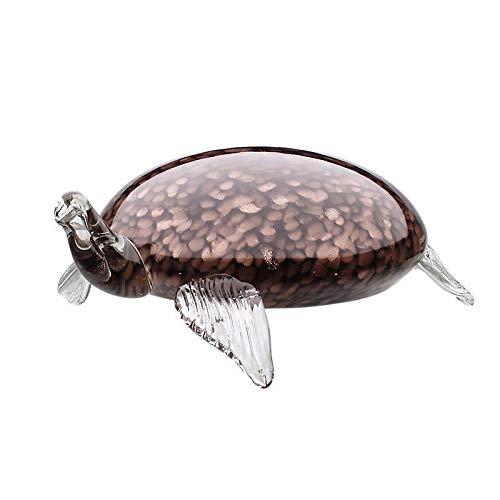 CRISTALICA Schildkröte Josie Glas Figur Glastier Wohnidee Unterwasserwelt 28cm Braun Bronze