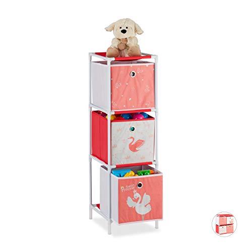 Relaxdays Kinderregal mit 3 Boxen, Spielzeug, Mädchen, Schwan-Design, Regal Kinderzimmer, HBT 89 x 27,5 x 30 cm,weiß/rot