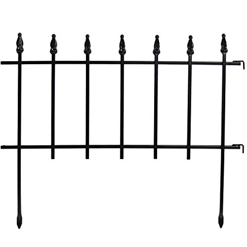 Sunnydaze 5-Panel Roman Border Fence Set - 9-Foot Overall Length - Decorative Metal Garden and Landscape Fencing - 22 Inches Wide x 18 Inches Tall Per Piece