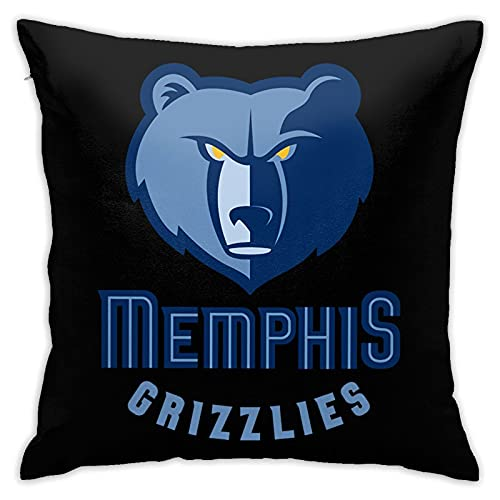 Memphis Grizzlies - Funda de cojín cuadrada para sofá, cama, silla, sofá, cama, sofá, funda de almohada lisa, 45,7 x 45,7 cm