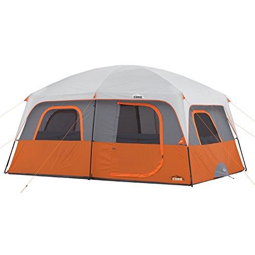 Core 10 Person Straight Wall Cabin Tent (Orange)
