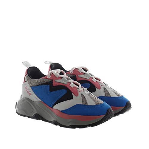 MSGM Chunky Sneaker IN CAMOSCIO E MESH BLU, Bianco 38