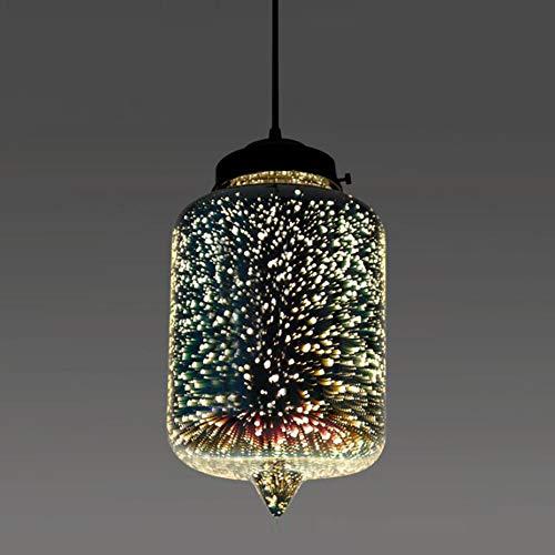 Vintage E27 Pendellampe Bunte Glas Schirm Pendelleuchte 1-Flammig 3D-Feuerwerk-Effekt Design Höhenverstellbar Hängeleuchten Esszimmer Esstisch Schlafzimmer Deckenlampe,φ20*40.5CM