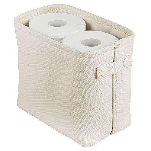 mDesign Aufbewahrungskorb mit Innenbeschichtung und Strukturdesign – ideal zur Kosmetikaufbewahrung – praktischer Badezimmer Organizer aus Baumwolle mit Henkeln – cremefarben