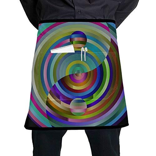 Delantales Media Cintura Yin Yang Filosofía del Este de Asia Equilibrio Armonía Delantal de Cintura Tradicional con Bolsillo Grande Unisex para Cocina Elaboración Dibujo de Barbacoa