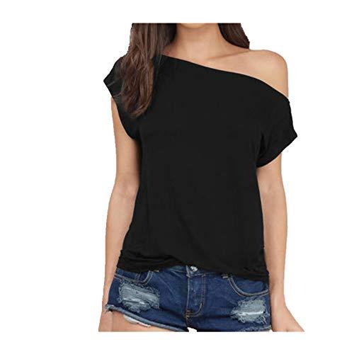NOBRAND - Camiseta de manga corta para mujer, talla grande, con una línea de hombros descubiertos