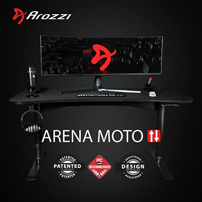 Arozzi Bureau Gamer motorisé Arena Moto (Noir)