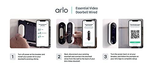 Arlo Video timbre   HD calidad de vídeo, resistente a la intemperie, 2 vías de audio   Detección de movimiento y alertas   Compatible con Alexa   (AVD1001)