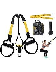 DEHUB Entrenamiento en Suspensión,Suspension Trainer Bandas en Casa Fitness,Adecuado para Entrenamiento Muscular,Ejercicio Aeróbico,Mejora la Flexibilidad y el Equilibrio (1,Amarillo Negro)
