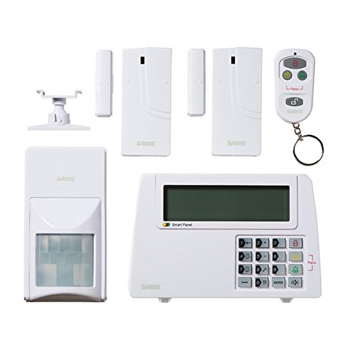 SABRE Home Expandable Wireless Burglar Alarm Security System - Includes Motion Door and Window Sensors LCD Touch Screen Display and Remote Control Key FOB - DIY EASY Installation
