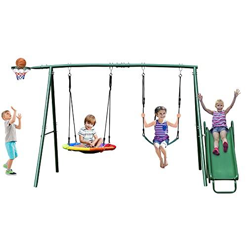 Hapfan 440lbs Swing Set for Backyard with Slide, Heavy Duty Metal Swing Stand, Saucer Tree Swing, Belt Swing,Basketball Hoop