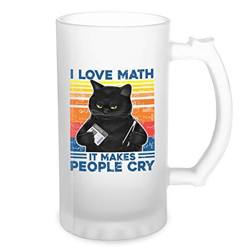 Vintage Cat Love Math It Makes People Cry Transparente taza de Stein de la cerveza 0.5L