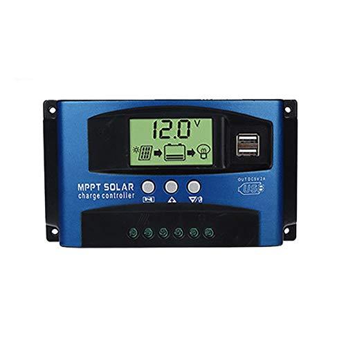 Umisu Contrôleur de Charge Solaire MPPT Régulateur de Panneau Solaire 60A 12V/24V Contrôleur Automatique Régulateur de Batterie Protection avec Écran LCD Port USB