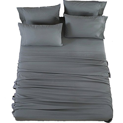 SONORO KATE Bed Sheets Set Sheets Microfiber Super Soft 1800 Thread Count Egyptian Sheets 16-Inch Deep Pocket Wrinkle Fade and Hypoallergenic - 6 Piece (King, Dark Grey)