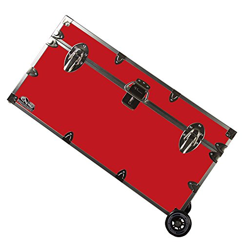 C&N Footlockers College Dorm Room & Summer Camp Lockable Trunk Footlocker with Wheels - Undergrad Trunk Available in 20 Colors - Large: 32 x 18 x 16.5 Inches (Red)