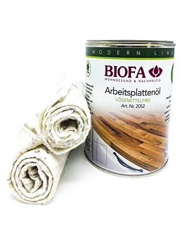 Eco-Werk Set | Biofa Arbeitsplattenöl kobaltfrei | 1 Liter | Set mit 2 Ölsaugtüchern