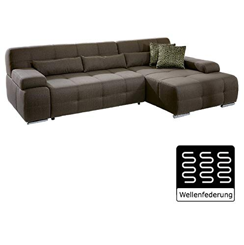 Cavadore Eckcouch Boogies mit Longchair rechts / Schlaf-Sofa mit ausziehbarem Bett und großer Liegefläche / Rückenecht / Inklusive Nierenkissen / Größe: 268x76x173 (BxHxT) / Farbe: Schlamm (braun)