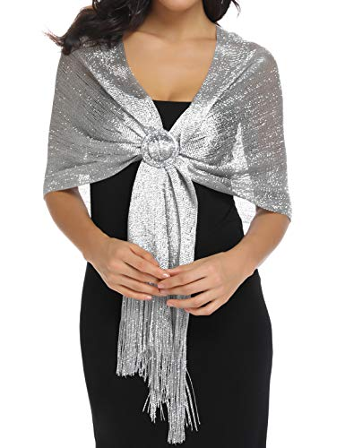 Shawls and Wraps Dark Gray Silver