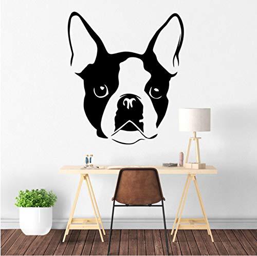 hwhz 50 X 57 cm Boston Terrier Dog Wall Art Decal Removable Vinyl Sticker Transfer Puppy Pet Wall Mural Pets Shop Decor Vinyl Wallpaper