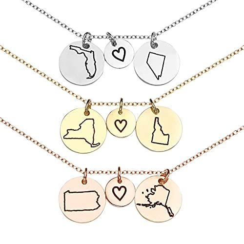 Best Friend Gifts Graduation Gift Mothers Day gift Long Distance Friendship Jewelry State Necklace Charm Necklaces Custom Necklace Name Necklace - CN-LDS