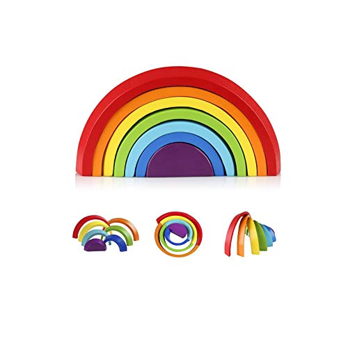 Coogam Wooden Rainbow Stacker Nesting Puzzle Blocks - Tunnel Stacking Game Building Creative Color Shape Matching Jigsaw Learning Toy Set Board Early Development Gift for Kids Boy Girl