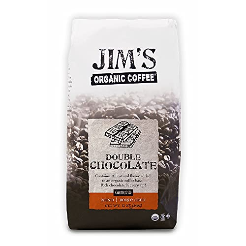 Jim's Organic Coffee – Double Chocolate, All Natural Flavored Blend – Light Roast, Ground...