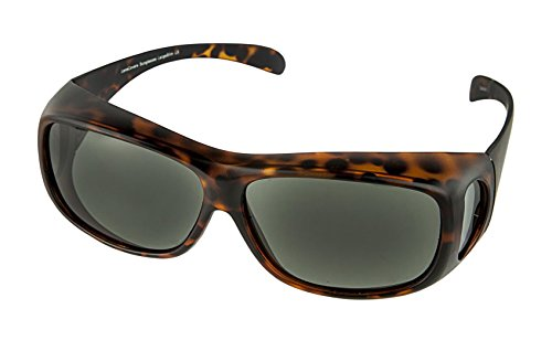LensCovers Wear Over Sunglasses for Men and Women. Size Large Slim Tortoise Polarized!