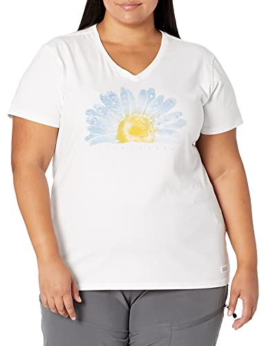 Life is Good Women's Crusher Graphic V-Neck T-Shirt, Watercolor Daisy, Cloud White, XX-Large