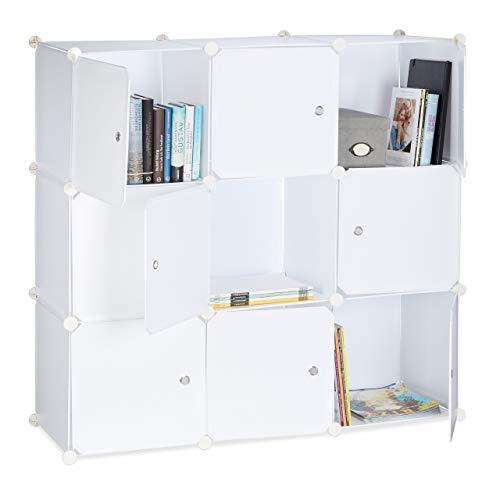 Relaxdays Regalsystem mit Türen, Raumteiler Kunststoff, Standregal 9 Fächer, Badregal offen, HBT: 95 x 95 x 32 cm, weiß