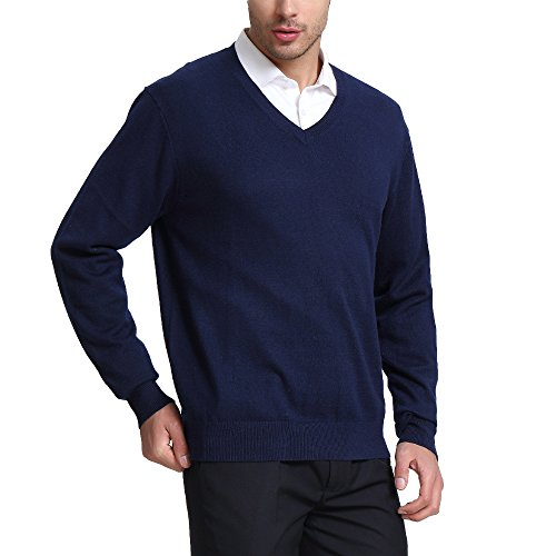 Kallspin Men?s Cashmere Wool Blend Relaxed Fit V-Neck Sweater Pullover, Navy Blue, Medium