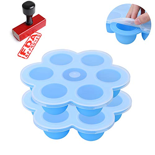 Zeattain 2 Stück Silikon Babynahrung Aufbewahrung Behälter, Tiefkühlbehälter für Babynahrung - 100% BPA-freie und FDA-Zertifizierung (blau)