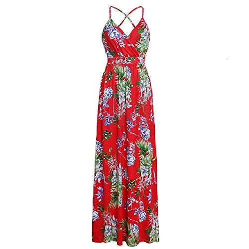 LILIZHAN Multi kleuren Tropische Jungle Leaf Boho Lange jurk Sling Cross Back Vrouwen Party Night Elegante Sexy Maxi Jurken
