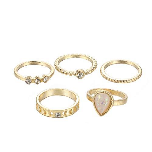 minjiSF Juego de 5 anillos de mujer con piedras preciosas engastadas con diamantes bohemios, creativos, apilables, de moda, bonitos anillos, geométricos, vintage, encantadores, joyas de año (oro)