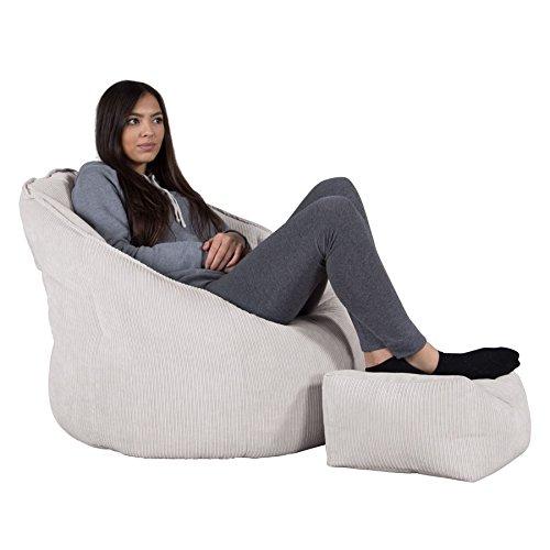 Lounge Pug®, Pouf Chaise Design, Pouf Poire Super, Côtelé à Fines Rayures Pierre