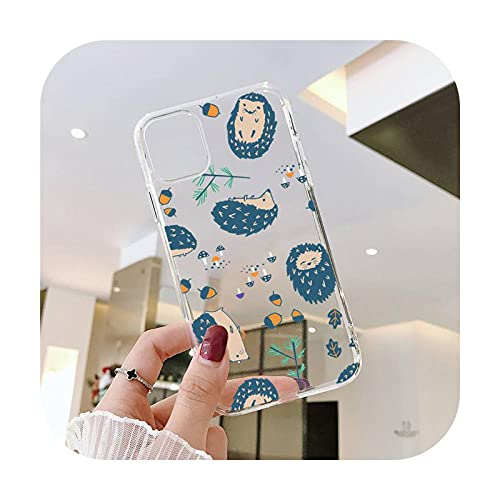 Animal encantador erizo de dibujos animados lindo teléfono cajas transparentes para iPhone 6 7 8 11 12 s mini pro X XS XR MAX Plus SE cubierta funda-a8-iPhone7 orSE2020