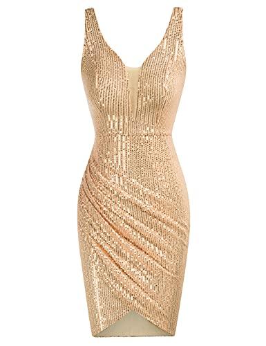 GRACE KARIN Damen Paillettenkleid Pleated Kleid Ärmellos V-Ausschnitt Vintage Kleid Cocktail Midi Kleid 2XL Golden CL0763A21-02