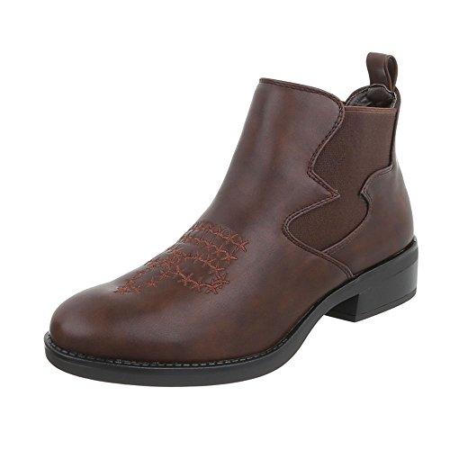 Ital-Design Chelsea Boots Damen-Schuhe Chelsea Boots Blockabsatz Blockabsatz Stiefeletten Braun, Gr 39, Fc-H83-