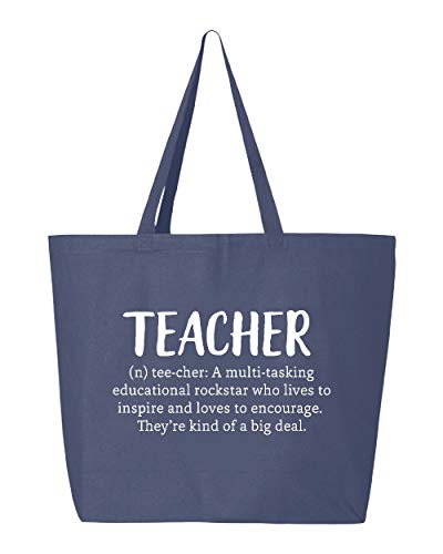 Shop4Ever Teacher Definition Heavy Canvas Tote Reusable Shopping Bag 10 oz Navy -Pack of 3- Jumbo