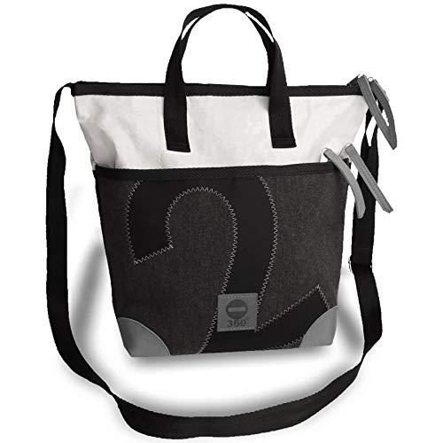 360° Grad Segeltuch-Tasche, Sonderedition, Deern Mini Umhängetasche Damen, weiß anthrazit-grau ; Damen-Tasche maritim, wasserdicht