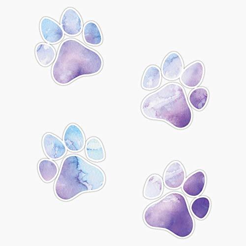 Purple And Blue Watercolor Dog Paws Design, Dog Stickers Sticker Vinyl Waterproof Sticker Decal Car Laptop Wall Window Bumper Sticker 5'