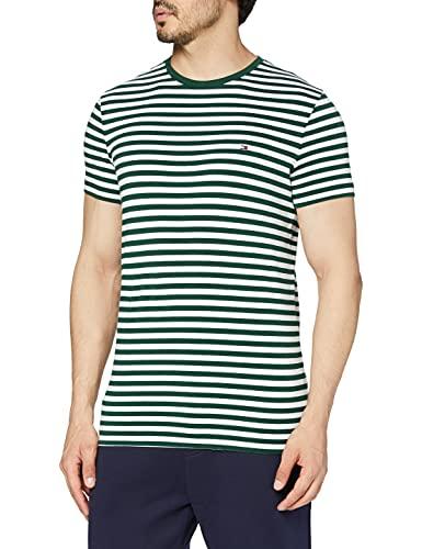 Tommy Hilfiger T- Shirt ajusté en Coton Bio Stretch Sport, Vert (Faded Olive/White), Small Homme