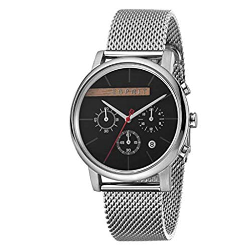 Esprit Herrenuhr Vision Black Mesh Chronograph 3 Bar Analog Chrono Datum Edelstahl Silber ES-1G040M0045