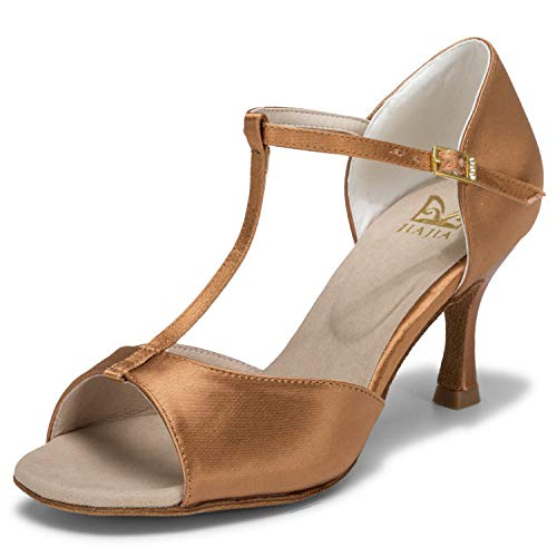 JIA JIA 20511 Damen Sandalen Ausgestelltes Heel Super-Satin Latein Tanzschuhe Farbe Braun,Größe 39 EU