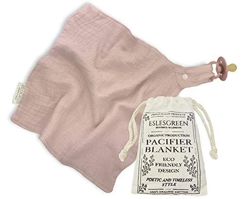 ESLESGREEN Doudou chupetero de algodón orgánico con bolsa guarda chupetes - Regalo recién nacido - Chupete no incluido (ROSA)