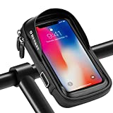 SHENKEY Bolsa para manillar de bicicleta, soporte para teléfono de bicicleta con pantalla táctil impermeable, marco de ciclismo, alforja, soporte para teléfono móvil de hasta 6,5 pulgadas