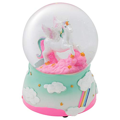 Elanze Designs Unicorn Rainbows on Teal Musical Figurine 100MM Water Globe Plays Tune The Unicorn