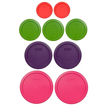Pyrex  2  7402-PC 6/7 Cup Fuchsia  2  7201-PC 4 Cup Purple  3  7200-PC 2 Cup Lawn Green  2  7202-PC 1 Cup Red Replacement Food Storage Lids