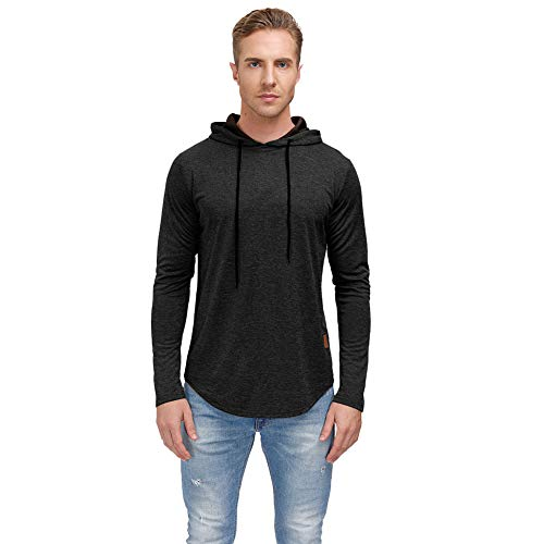 lexiart Mens Fashion Athletic Sport Hoodies Quick Dry Light Weight Sweatshirt Pullover Hoodie Black