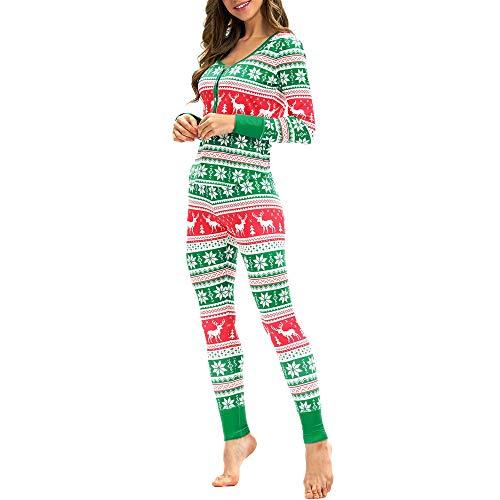 WHSHINE Damen Jumpsuit Pyjama Frauen Winter Warm Langarm Jumpsuit 3D Weihnachten Elch Drucken Jumpsuit Overall (Grün) - 3