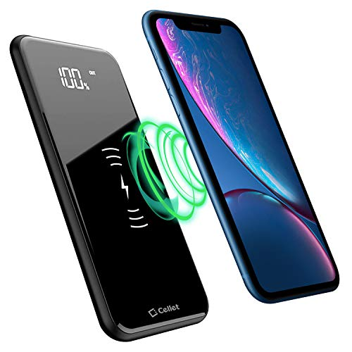 Cellet Wireless Portable Power Bank High Capacity Smart LED Display Wireless Charger Compatibility with Apple iPhone 11 Pro Max 11 Xs Max Xr X 8 Plus Samsung Galaxy S20 S20+ S20 Ultra S10 S10e Plus S9